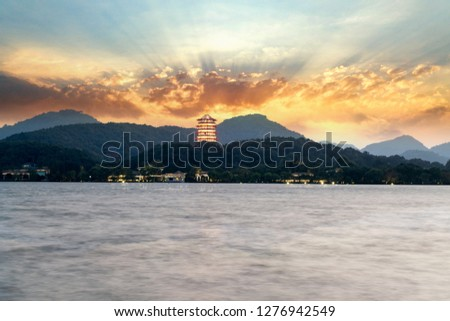 Antigo pagode noite ocidente lago China Foto stock © billperry