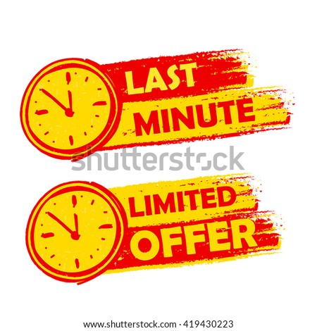 Last Minute And Limited Offer With Clock Signs Yellow And Red D Foto stock © marinini