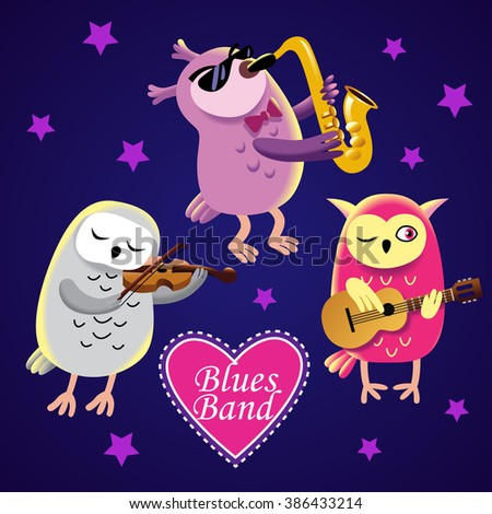 uil · gitaar · cute · zingen · vogel · cartoon - stockfoto © natalya_zimina