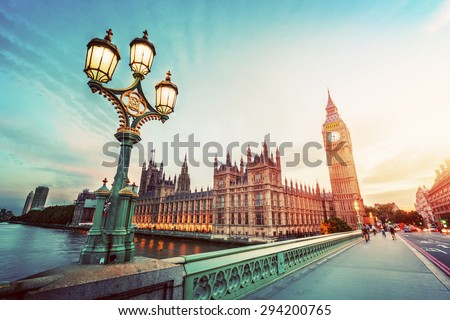 big ben london the uk at sunset retro street lamp light on westminster bridge black and white stock photo © photocreo