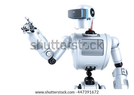 Robot in a virtual reality helmet pointing at invisible object.  Stock photo © Kirill_M