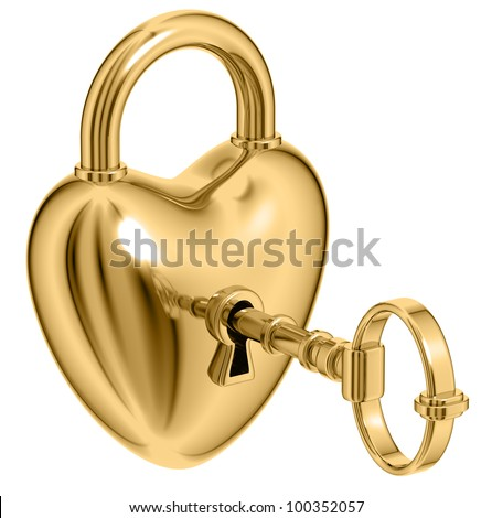 Stock photo: Opened Red Lock Formed As Heart With A Golden Key In A Keyhole V