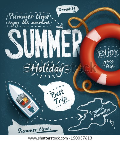 Stock photo: Vector Summer Holiday Design with Paradise Island on blue sea ba