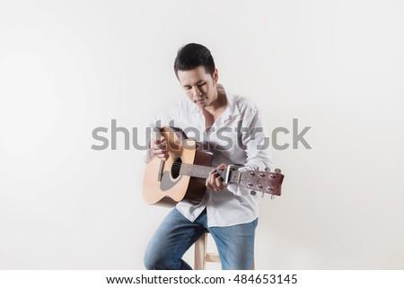 tini · gitáros · szék · western · gitár · kő - stock fotó © meinzahn
