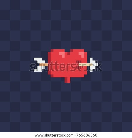 Knitted heart with an arrow, valentines day card, vector illustration Stock photo © carodi