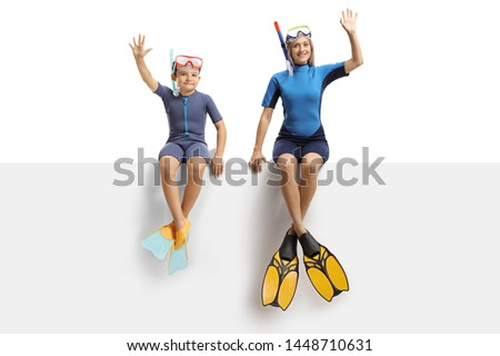 Diving young woman in snorkel, wetsuit and flippers waving hand under water. Cartoon vector illustra Stock photo © maia3000