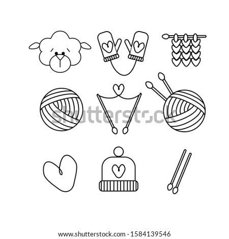 knitting crochet hand made line icons set knitting needle hook scarf socks pattern wool skei stock photo © nadiinko