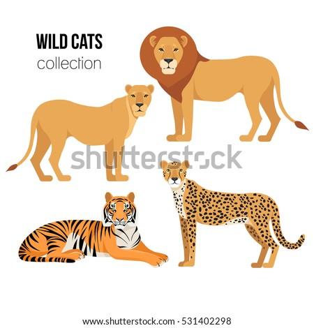 Circus icon set, flat, cartoon style. Set isolated on a white background with elephant, lion, Sealio Stock photo © lucia_fox
