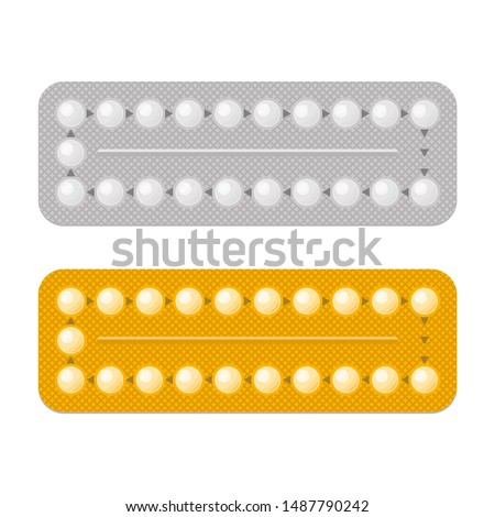 Set color Condom packed isolated. Contraceptive on white backgro Stock photo © popaukropa