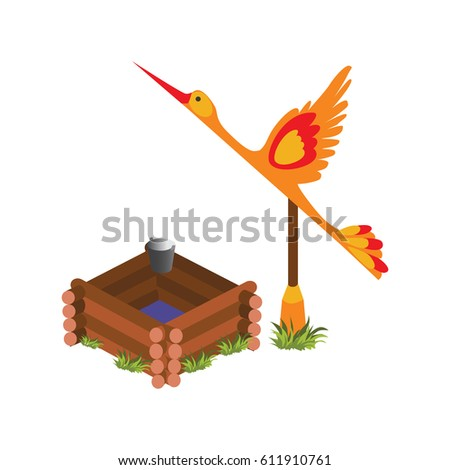 Isometric Cartoon Wooden Village Water Well with Crane, Element for Tileset Map Stock photo © Loud-Mango