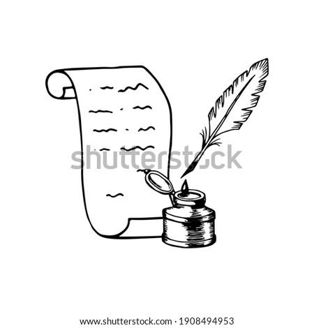 feather and inkwell old retro vintage icon stock vector illustra Stock photo © konturvid