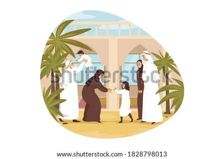 Arab grandson, granddaughter, grandmother and grandfather standi Stock photo © NikoDzhi