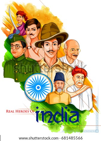 Tricolor India background with Nation Hero and Freedom Fighter for Independence Day Stock photo © vectomart