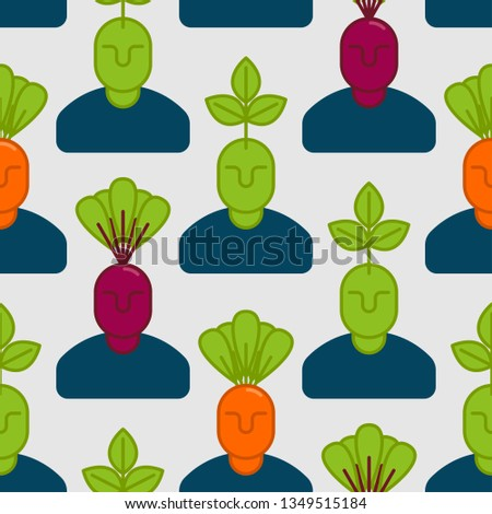 Office vegetables garden seamless pattern. Manager beet and carr Stock photo © popaukropa