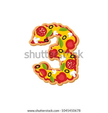 Number 3 pizza font. Italian meal alphabet numeral three. Lettri Stock photo © popaukropa