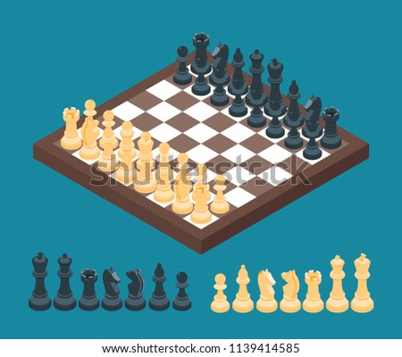 Chessboard with photorealistic pieces isometric, vector illustration. Stock photo © kup1984