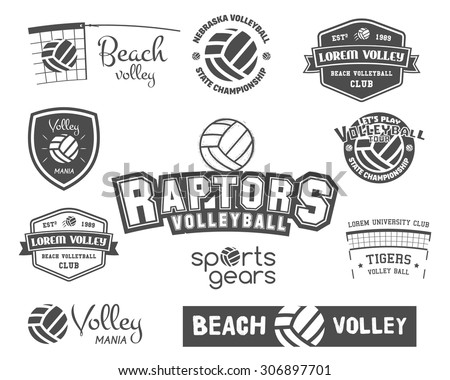 Foto stock: Volleyball Label Badge Logo And Icon Sports Insignia Best For Volley Club League Competition S