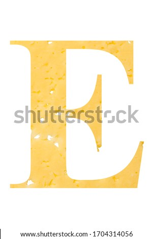 Letter E cheese font. Symbol of cheesy alphabet. Dairy Food type Stock photo © popaukropa