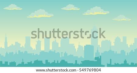 Foto stock: Linha · do · horizonte · cidade · abstrato · cidade · paisagem · industrial · vetor