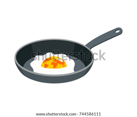 Earth fried egg. Planet is scrambled eggs. Political Vector Illu Stock photo © popaukropa