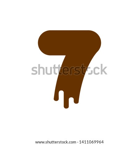 Number 7 Chocolate font. Sweetness numeral seven alphabet. Liqui Stock photo © MaryValery