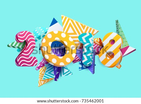 Stockfoto: Happy New Year 2018 Illustration With Firework And 3d Text On Shiny Blue Background Vector Eps 10