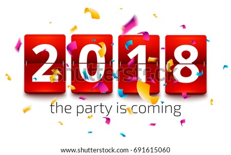 2018 New Year Coming Illustration with 3d Number and Progress Bar on Black Background. Vector Holida Stock photo © articular