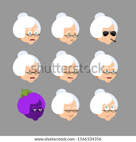 grandmother set emoji avatar sad and angry face guilty and sle stock photo © popaukropa