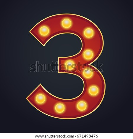 3 Number Vector. Three Font Marquee Light Sign. Realistic Retro Shine Lamp Bulb. 3D Electric Glowing Stock photo © pikepicture