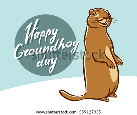 Happy Groundhog Day lettering text for greeting card. Funny marmot in hat gets out of hole and looks Stock photo © orensila