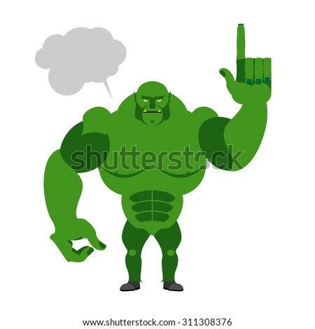Green Goblin with a text bubble. Finger shows up. Big and powerf Stock photo © popaukropa