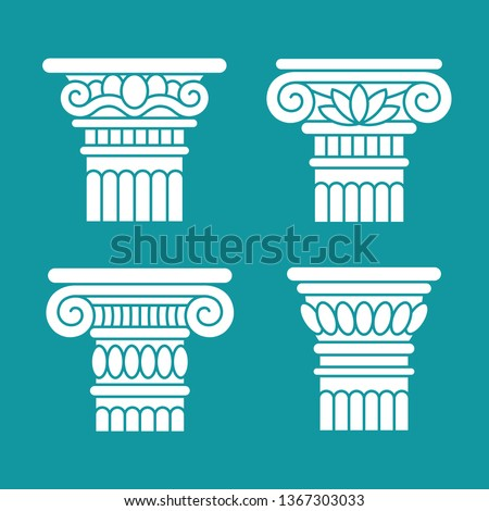 Architectural logo. Element of Greek columns capital. Vector emb Stock photo © popaukropa