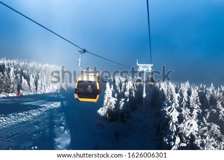 téli · sport · sí · hódeszka · hegy · tájkép · égbolt - stock fotó © Leo_Edition