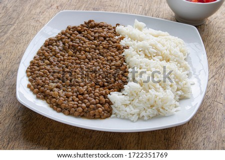 Lentil cereal in plate isolated. Healthy food for breakfast. Vec Stock photo © MaryValery