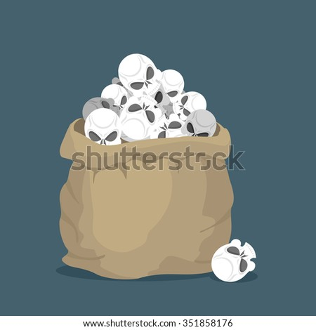 Sack of skulls. Open bag with  heads of skeletons. Lots of creep Stock photo © popaukropa
