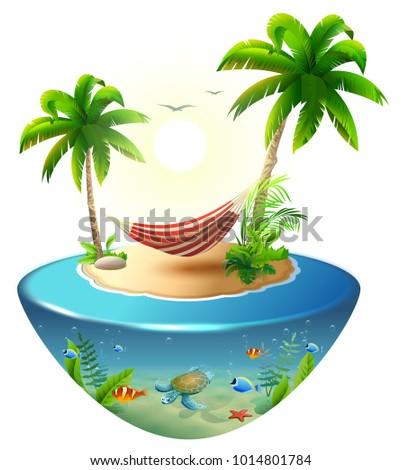 Listrado maca palmeiras paraíso praia Foto stock © orensila