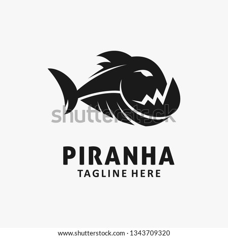 Piranhas logo sign. Marine Predator fish of Amazon. Toothed rive Stock photo © popaukropa