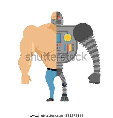 Cyborg. Half human half robot. Man with big muscles and iron lim Stock photo © popaukropa