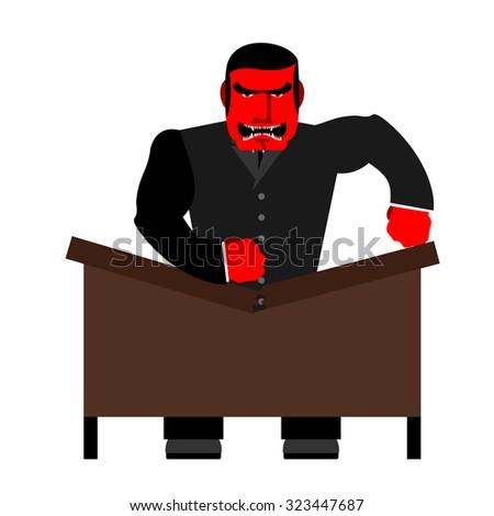 Duży szef tabeli czerwony biznesmen głośno Zdjęcia stock © popaukropa