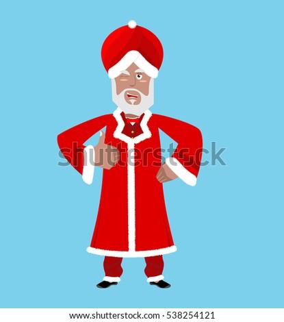 Santa India. Christmas Indian Claus. Red Turban fur. East Grandp Stock photo © popaukropa