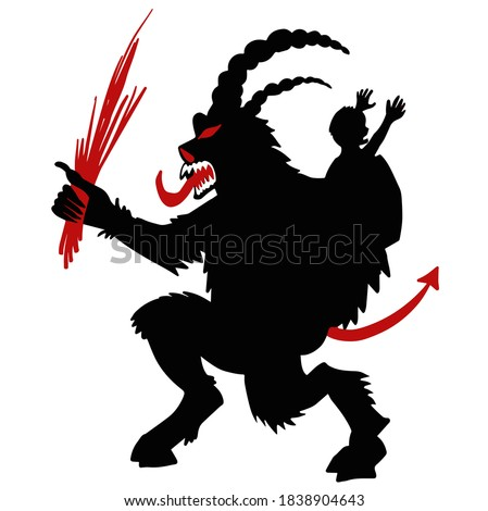 Krampus Satan Santa. Claus red demon with horns. Christmas monst Stock photo © popaukropa