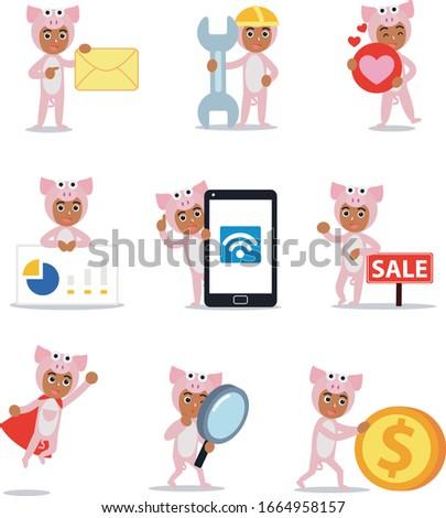 Stok fotoğraf: Ayarlamak · hayvanlar · işadamları · çiftlik · hayvanları · kostüm · domuz