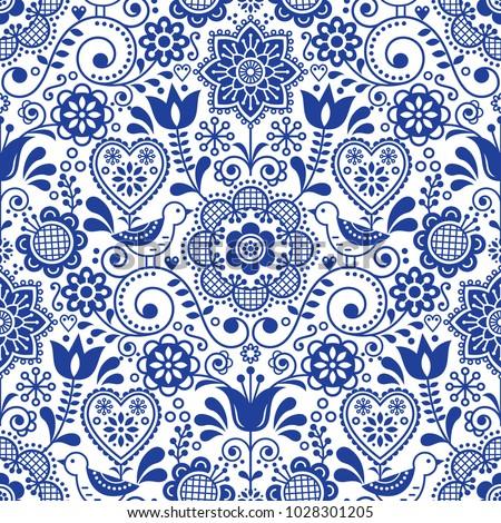 floral seamless folk art vector pattern scandinavian navy blue repetitive design nordic ornament w stock photo © redkoala