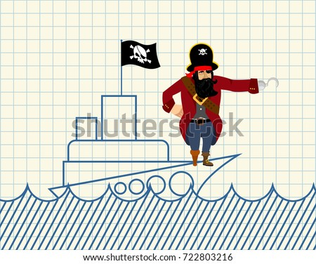 Pirackich statku malowany pirat scary hak Zdjęcia stock © popaukropa