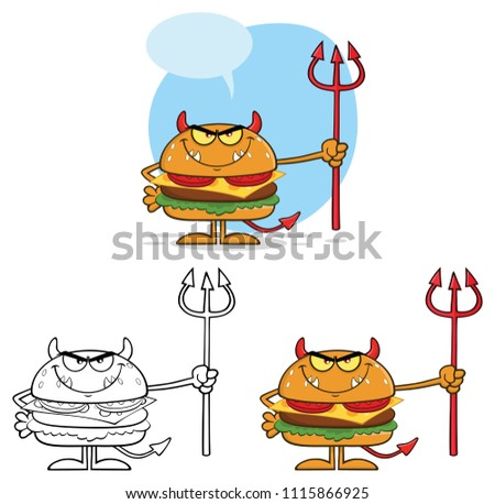grumpy devil burger cartoon character holding a trident over flames stock photo © hittoon