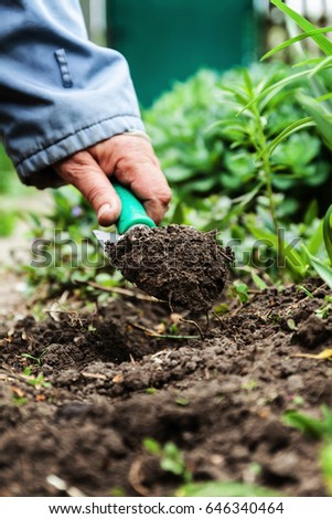 A woman's hand digs soil and soil with a shovel. Close-up, Conce Stock photo © TanaCh