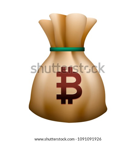 Money bag vector icon, moneybag with drawstring and bitcoin sign isolated on white background, vecto Stock photo © ikopylov