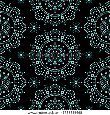 Stock photo: Mandala bohemian vector dot painting seamless pattern, Aboriginal dot art, retro folk repetitive des