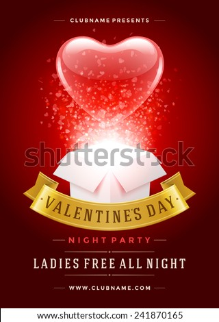 vector valentines day party flyer design with love you typography letter and heart on violet backgro stock photo © articular