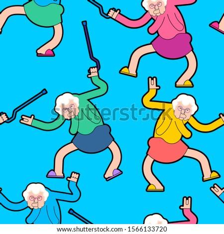 Dom starców strony wzór babcia dance ozdoba Zdjęcia stock © MaryValery